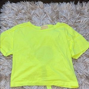 Brand New Neon Yellow open back shirt